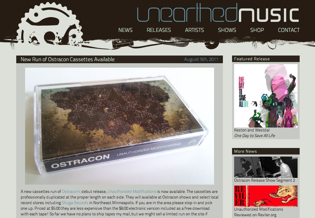 Unearthed Music Landing Page